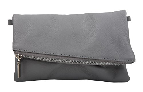 Slingbag, Samira, borsetta in pelle, di alta qualità, per donna, di colore beige, Nero (Dunkelblau), S Grau