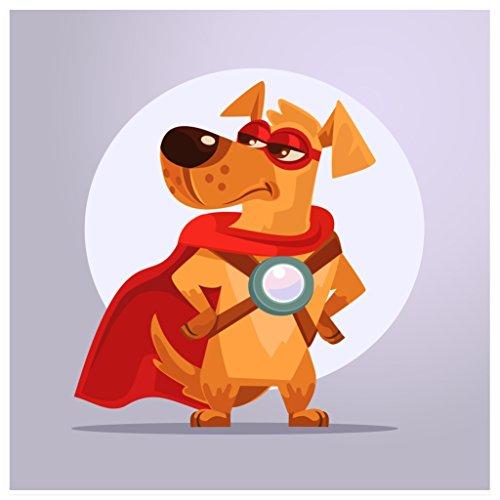 r Kinderzimmer - Hund als Superheld (Poster in Gr. 60x60cm) (Superhelden Hund Kostüme)