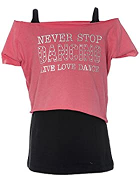 Mädchen Tanzen, T-Shirts Westen Double Layer Never Stop Dancing Live Love Dance Tops von Brody & Co®