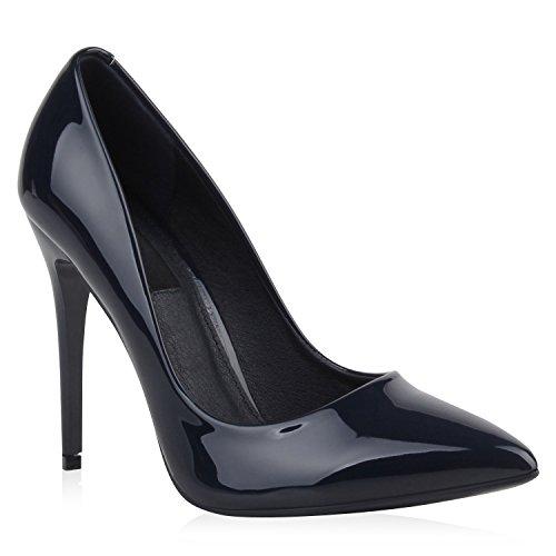 Stiefelparadies Spitze Damen Pumps Lack Stiletto High Heels Metallic Party Glitzer Abiball Hochzeit Schuhe 107006 Dunkelblau 35 Flandell
