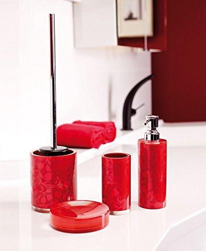 Bad-Accessoires-Set 4-teilig VENUS rot B-Ware WC-Bürste Seifenspender Mundspülbecher Seifenschale