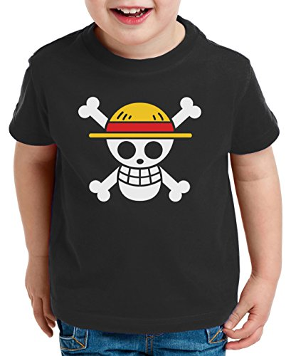 Logo Pirat Kinder T-Shirt Ruffy Zoro One Nami Lysop Piece Portgas D., Farbe:Schwarz;Kinder T-Shirt Größe:98/104