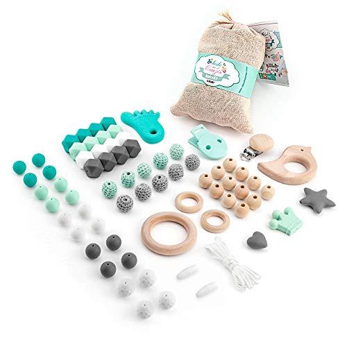 RUBY - Set 7 Piezas chupeteros, collar lactancia para bebé de silicona y madera. Kit cesta de regalo para recién nacido (Turquesa Pastel)