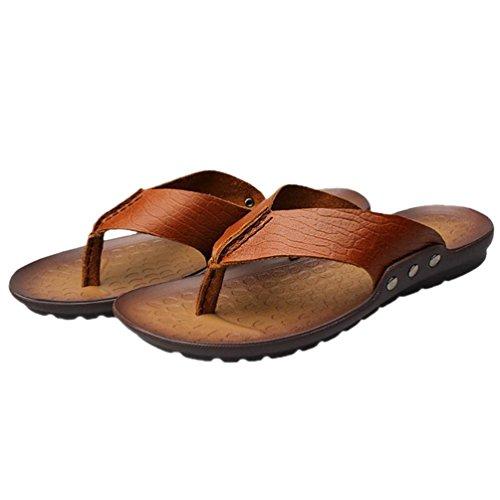 SHANGXIAN Herren Zehen Flip Flops im Sommer Casual Ledersandalen Brown