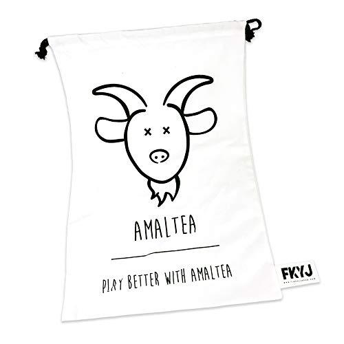 AMALTEA Sacca Biancheria in Tela di Cotone con Coulisse|Borsa Porta Panni da Viaggio|Misure 60X40 cm|Resistente|Lavabile|Richiudubile|Hygge Style