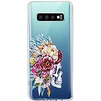 Suhctup Transparente Funda Compatible con Samsung Galaxy Note 10 Pro,Carcasa Protectora de TPU Ultradelgada Flor y Calavera Diseño Anti-Choques Resistente Case Cover para Galaxy Note 10 Pro(9)