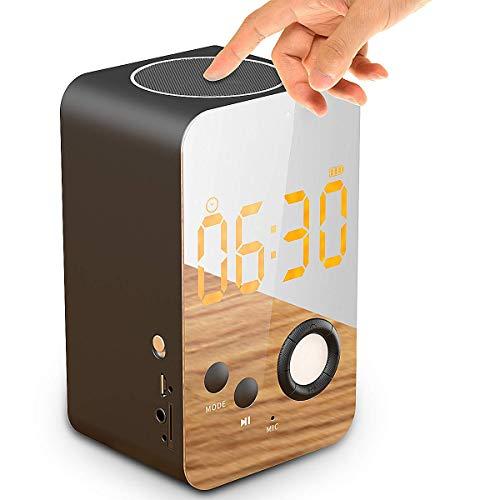 Bedside Touch Radiowecker,KINGCOO 8 in 1 Digital Wecker Metall Wireless Stereo Bluetooth Lautsprecher Tischuhr Nachtlicht mit LCD Bildschirm Eingebautes Mikrofon Unterstützung FM AUX