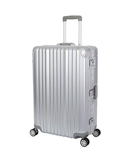 Travelhouse London Koffer Silber L-75cm · Alu Rahmen · Polykarbonat Hartschale · Trolley Reisekoffer Reisegepäck · 2X TSA Zahlenschloss · 4 Doppelräder · 360°Rollen · Marken-Qualität · Vol. 108L