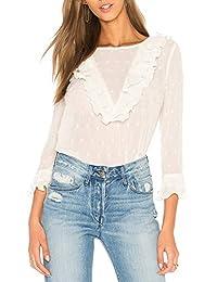 ff551f75f6 Blusas con Volantes para Mujer Elegante Cuello Redondo Manga Larga Blanco  Encaje Volante Camiseta Tops Blusa