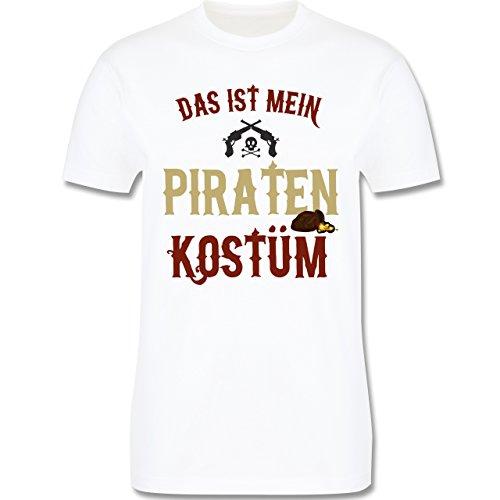 & Fasching - Das ist Mein Piraten Kostüm - M - Weiß - L190 - Herren T-Shirt Rundhals (Kostüme Für Piraten)