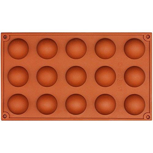Romote 15 Hohlraum 3D Halbkugel Halbrund Silikon Bakeware Form-Plätzchen-Schokolade teacake Fondant Tablett 29,8 * 17,4 * 1.9CM (Mikrowellen Oster)