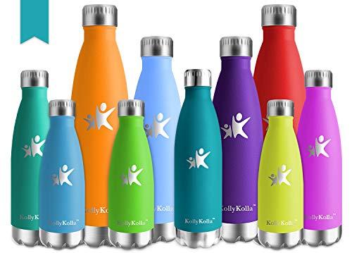 KollyKolla Vakuum Isolierte Edelstahl Trinkflasche, 750ml BPA Frei Wasserflasche Auslaufsicher, Thermosflasche für Sport, Outdoor, Fitness, Kinder, Schule, Kleinkinder, Kindergarten (Dunkelgrün)