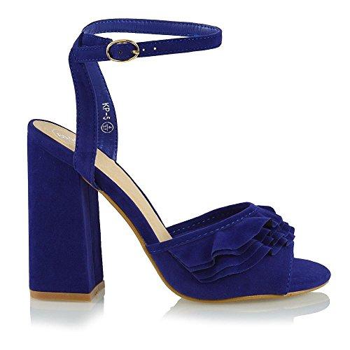 Essex Glam Femme Haut Talon Embellissement Bride À La Cheville Faux Suede Peep Toe Sandale Bleu Faux Suede