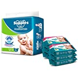 Supples Baby Pants Diapers, Large, 62 Count with Wet Wipes (Pack of 6)