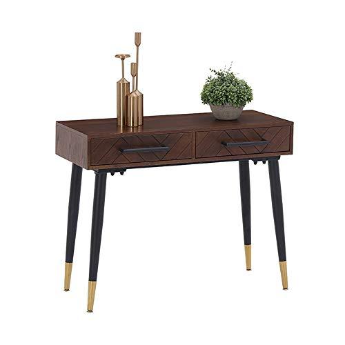 Oipoodde Wohnzimmerschrank Nordic Massivholz-Konsole mit Schublade Eingang Tabelle modernen einfacher Art-Sofa-Tisch Lagerschrank (Color : Black Legs, Size : 120x40x80cm) -