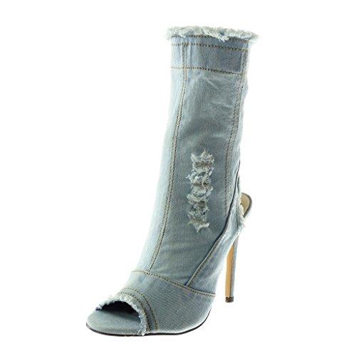 Angkorly Damen Schuhe Stiefeletten - Stiletto - Jeans Denim - Peep-Toe - Ausgefranst - zerrissene Stiletto High Heel 12 cm - Hellblau B7621 T 39