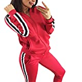 Sllowwa Damen Freizeitanzug Sportanzug Jogginganzug Sportjacke Jacke mit Reißverschluss Sporthose Hose Casual Striped Zipper Sporthose Set Langarm Crop Tops + Hosen(rot,XL)