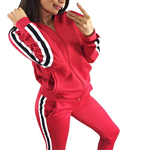 Sllowwa Damen Freizeitanzug Sportanzug Jogginganzug Sportjacke Jacke mit Reißverschluss Sporthose Hose Casual Striped Zipper Sporthose Set Langarm Crop Tops + Hosen(rot,M)