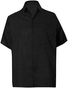 *La Leela* Negro Playa de Puntos Sencilla Camisa Aloha Hawaiano Casual para Hombres