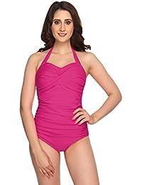 Nidhi Munim Pink Cross Rouching Swimsuit For Women
