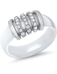 Steinbesetzter weißer Unique Ring aus Keramik KR0020