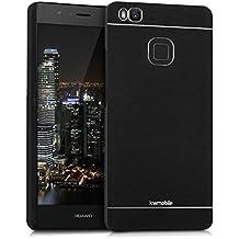 kwmobile Funda rígida de alta calidad para > Huawei P9 Lite < con refuerzo de aluminio pulido en la parte trasera en negro