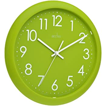 Acctim 21895 abingdon wall clock lime green amazoncouk for Green wall clocks uk