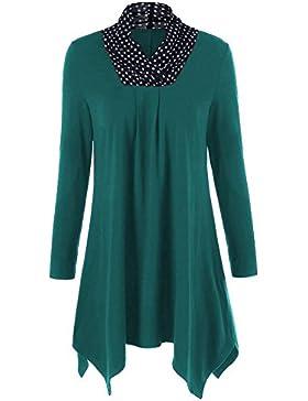 iBaste Mujeres suaves sueltan punto de la onda de la moda V cuello manga larga irregular dobladillo camiseta Blusa