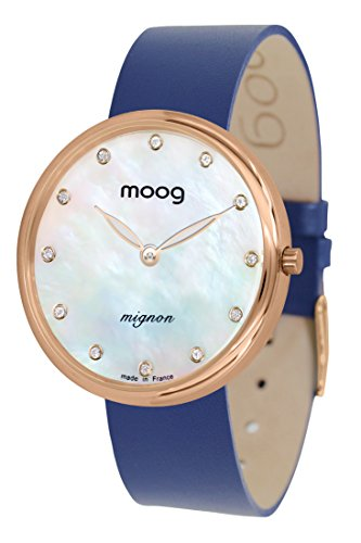 Moog Paris Mignon Women's Watch with White Mother of Pearl Dial, Blue Genuine Leather Strap & Swarovski Elements - M41681-A41