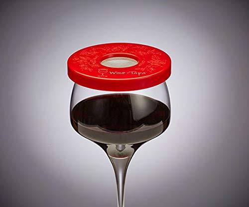 Wine-Tapa Wein Tapa Weinglas Cover: Halten Bugs auswaschbar Kunststoff Außen Getränk Deckel Marker für Gläser Dosen Cups Stemless Trinkgefäße 1 rot (Wine Cup Markers)