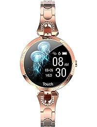 Reloj Inteligente Mujer Smartwatch para Mujer de Oro Rosa, presión Arterial, podómetro, Consumo de calorías, Joyas, diseño Elegante