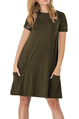 YMING Damen Lockeres Kleid Lose Blusenkeid Kurzarm Lange Shirt Casual Strickkleid Übergröße,Armeegrün,XXL / DE 44-46 (Seiden-baumwoll-kleid)