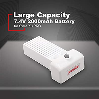 Funnyrunstore Large Capacity RC Drone RC Quadcopter 7.4V 2000mAh Battery Ultra-high Capacity Lipo for Syma X8 PRO Battery Spare Parts(white)