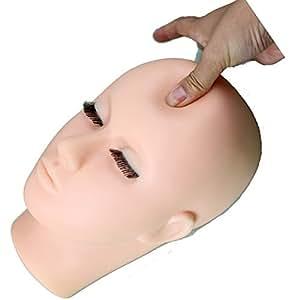 Eseewigs - Testa di manichino in morbido vinile, per pratica di trucco, con ciglia integrate