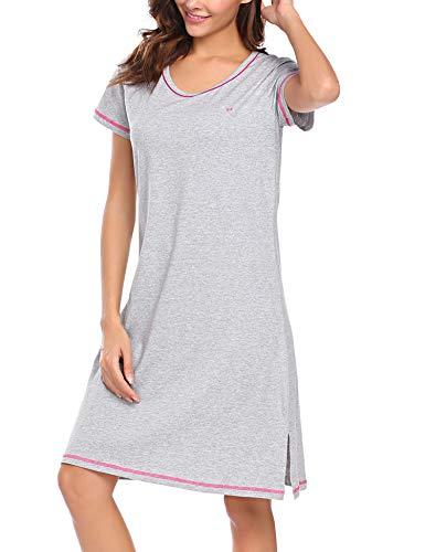 Damen Klassisches Nachtkleid Kurzer Ärmel A-Line Mit Saum schlitz Baumwolle Nachthemd, Grau, Gr. L(EU42-44) -