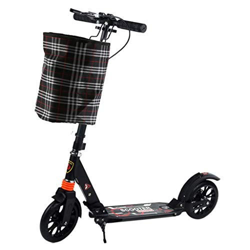 Xian BF Kickscooter Schwarze Roller mit Handbremse und großen Rädern für Erwachsene Frauen Männer Pendler, Unterstützung 100kg for Adults (Color : Black)