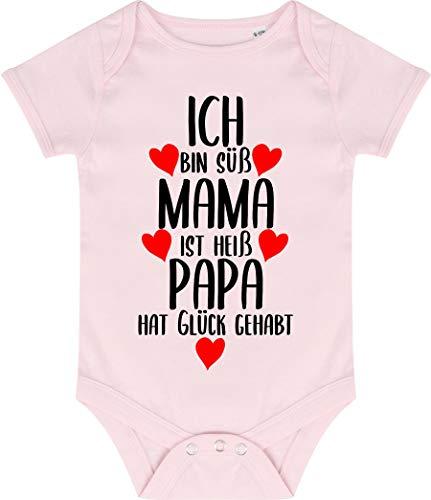 Kleckerliese Baby Body Vintage Kurzarm Sprüche Jungen Mädchen Aufdruck Motiv Ich Bin süß Mama ist heiß Papa hat Glück gehabt, Palepink, 12-18 Monate