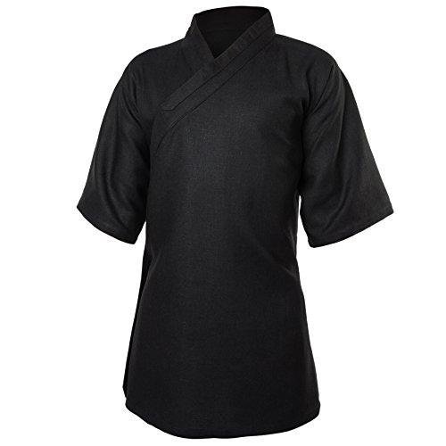 wu designs Leinen (Schwer) Kung Fu & Tai Chi Shirt Diagonaler Kragen Kurzarm - Taiji Anzug Schwarz 175