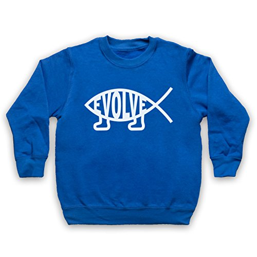 Evolve Evolution Atheist Symbol Kinder Sweatshirt, Blau, 3-4 Jahren