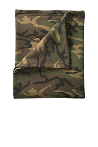 Fleece Military Blanket (Port & Company® Core Fleece Camo Sweatshirt Blanket. BP78C Military Camo OSFA)
