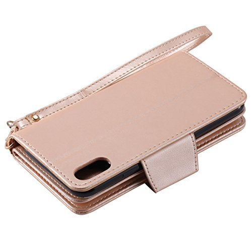 "Coque pour iphone X Portefeuille, Housse en cuir de Mode iphone X 5.8"", iphone 10 Folio Flip Cover Case, MoreChioce Luxe de Étui en cuir PU Fille et Chat En relief et Fonction Miroir, Caoutchouc soupl 9 fente-d'or"
