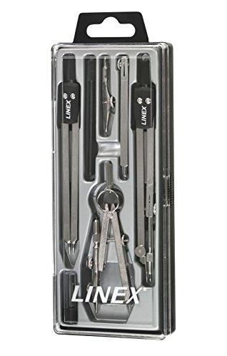 LINEX 100552546 Zirkelkasten 6 tlg. Set Zirkel mit Kniegelenk, Einsatzfeder mit Halter, Minendose, Stechzirkel, Teilzirkel und Verlängerungsstange