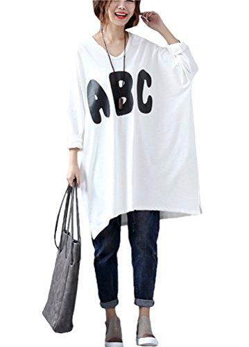 Vogstyle Damen Neuer Frühling Einfaches Alphabet Lose T-Shirt Tops Art 1 Weiß