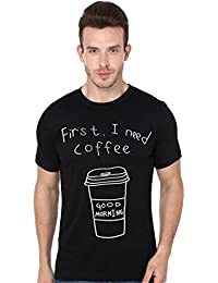 "Fashion Fakir Men's ""I Need Coffee "" Printed Stylish Casual Wear Cotton T-shirt"