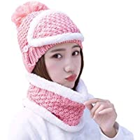 43daf0b3e8e ITODA 3 in 1 Women s Winter Warm Beanie Hat Knitted Hat with Circle Scarf  and Face