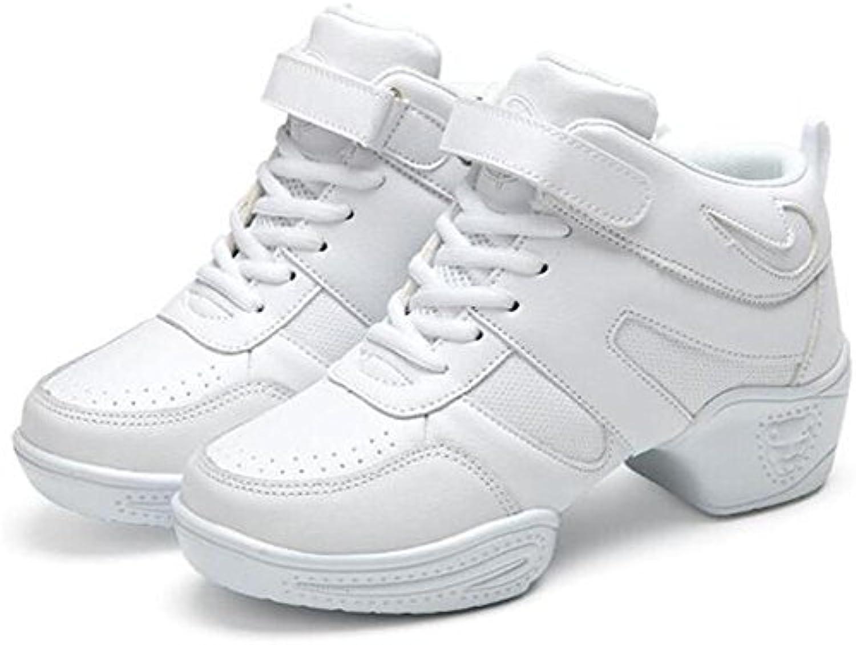 Frauen tanzen Schuhe Ledernetz Weiche Split-Sohle Jazz-Trainer Sport Größe 36 bis 40  white leather  EU37