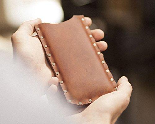 Marron housse en cuir pour iPhone 8 , 7, 6s étui pochette case coque cover. Coutures rivetées