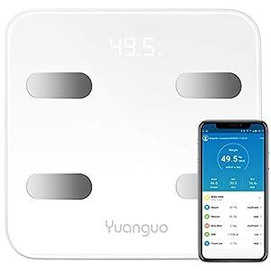 Digital Personenwaage Yuanguo Hosome Körperfettwaage mit APP und 17 Körperdaten, 3x AAA Batterien, Digitale Waage für Körperfett, BMI, BMR, Gewicht, Muskelmasse, Wasser, Protein, bis 180 kg