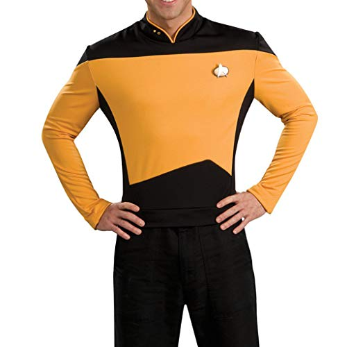 K-Flame Star Trek The Next Generation Langarm Uniform Halloween Erwachsene Cosplay Party Shirt Herren Kostüm Performances Kostüme,Yellow,XL (Star Trek Next Generation Kostüm Shirt)