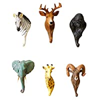 QIONGXKYZ Hook wall hanging clothes and hats rack, rural decoration creative resin three-dimensional animal wall hanging crafts,zebra